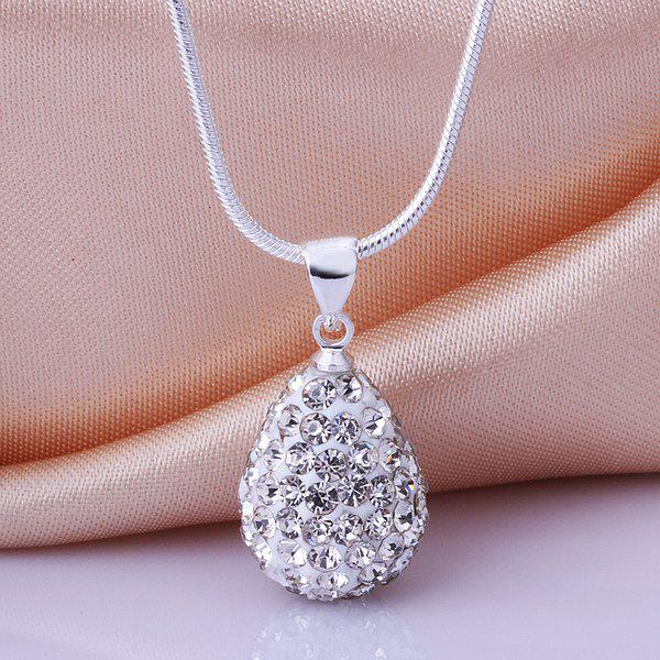 Rhinestone Water Drop Shape Pendant Necklace - WHITE