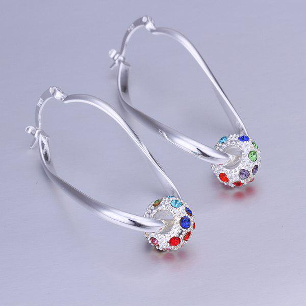Pair of Rhinesone Alloy Ball Drop Earrings - SILVER