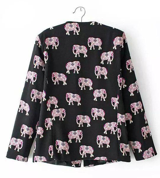 Stylish Elephant Print Collarless Long Sleeve Blazer For Women - BLACK S