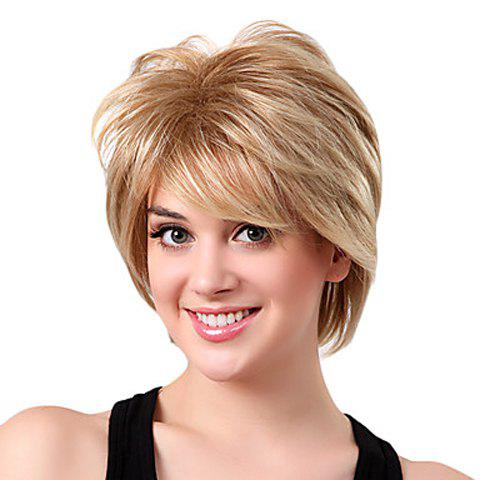 Casual Towheaded Short Straight Heat-Resistant Side Bang Laconic Synthetic Women's Blonde Wig - COLORMIX