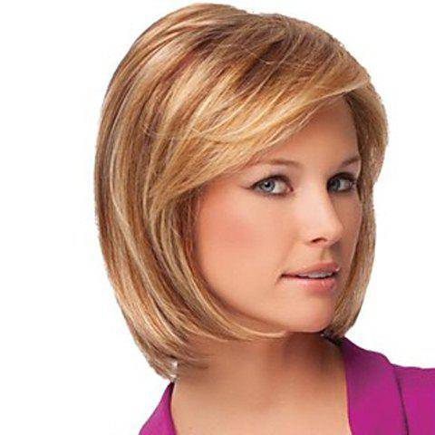 Laconic Inclined Bang Natural Mixed Color Straight Fluffy Fashion Women's Short Hair Wig - COLORMIX