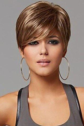Laconic Natural Straight Synthetic Fluffy Inclined Bang Women's Short Wig - COLORMIX