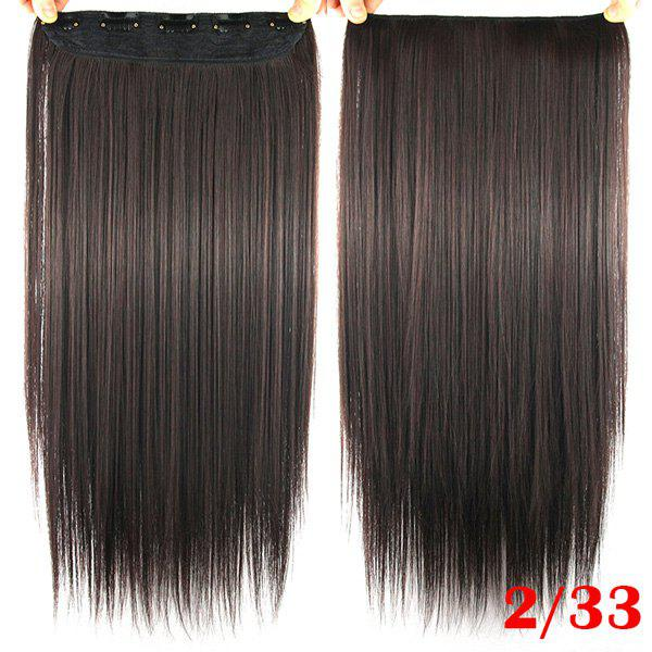 Charming Stylish Brown Long Straight Heat Resistant Synthetic Women's Hair Extension - DEEP BROWN