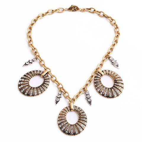 Stylish Rhinestone Embellished Hollow Out Round Shape Necklace For Women - AS THE PICTURE