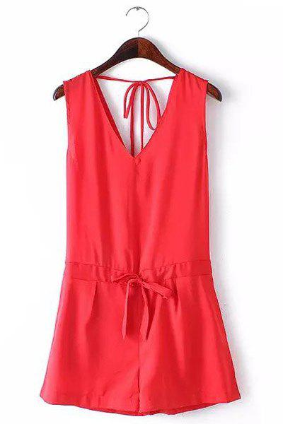 Sexy Sleeveless Plunging Neck Tie-Up Backless Women's Romper - RED S