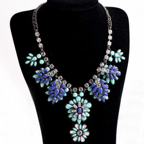 Chic Rhinestone Embellished Floral Shape Necklace For Women