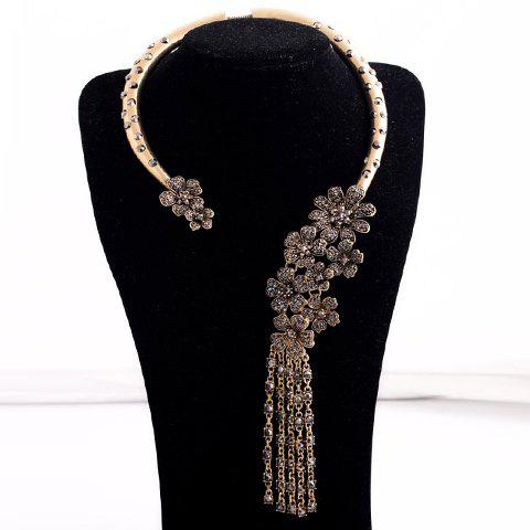 Rhinestone Floral Asymmetric Necklace For Women - AS THE PICTURE
