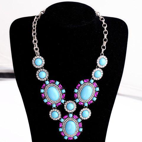 Rhinestone Ellipse Chic Necklace For Women - AS THE PICTURE