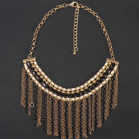 Layered Beads Chian Fringed Necklace - GOLDEN