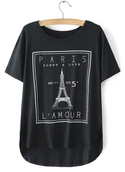 Stylish Short Sleeve Round Neck Irregular Letter and Tower Print Women's T-Shirt - BLACK ONE SIZE(FIT SIZE XS TO M)