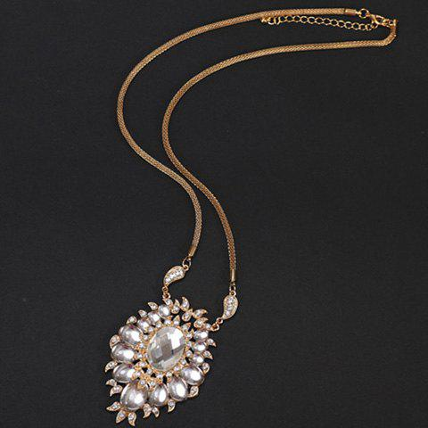 Stylish Faux Crystal Decorated Hollow Out Floral Sweater Chain For Women - COLORMIX