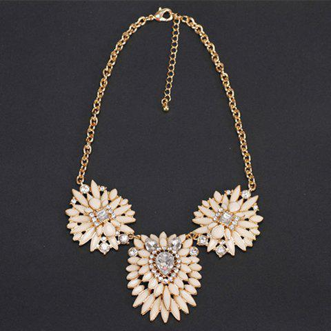 Chic Rhinestone Embellished Multi-Layered Floral Women's Sweater Chain - COLORMIX