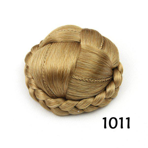 Trendy Golden Blonde Braided Ladylike Heat Resistant Synthetic Women's Clip-In Chignon -