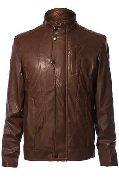 Stylish Solid Color Stand Collar Pocket and Zipper Design Slimming Long Sleeves Men's PU Leather Coat - COFFEE L