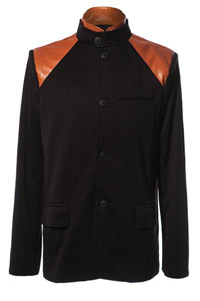Stylish Stand Collar PU Leather Splicing Slimming Color Block Long Sleeves Men's Coat - BLACK L