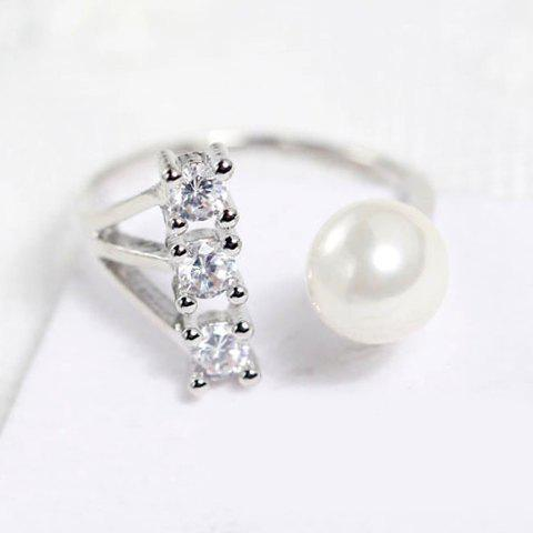 Simple Beads Faux Pearl Decorated Ring For Women - ONE-SIZE SILVER