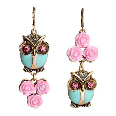 Pair of Cute Night Owl and Floral Shape Rhinestone Decorated Earrings For Women - COLORMIX