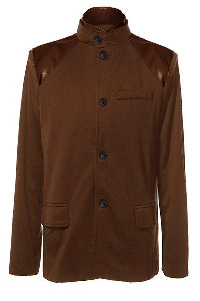 Stylish Stand Collar PU Leather Splicing Slimming Color Block Long Sleeves Men's Coat - BROWN L