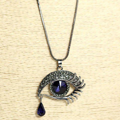 Stylish Rhinestone Eye Pendant Sweater Chain Necklace For Women - COLORMIX