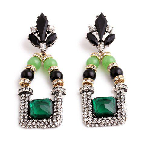 Pair of Chic Leaf Shape Rhinestone Decorated Earrings For Women -  JADE GREEN