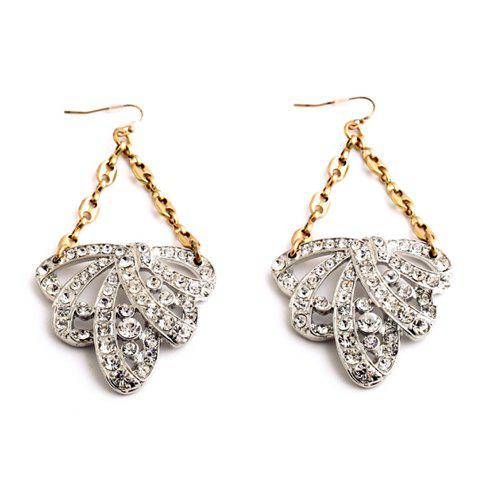 Pair of Exquisite Hollow Out Floral Shape Rhinestone Decorated Women's Earrings - SILVER