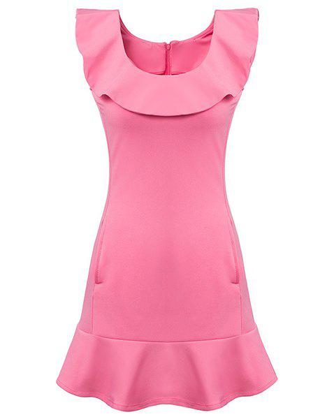 Ladylike Sleeveless Scoop Neck Flounced Slimming Women's Dress - PINK S