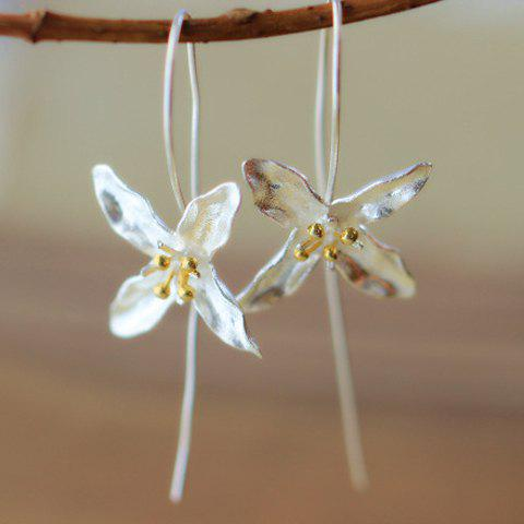 Pair of Four-Petal Flower Earrings - SILVER