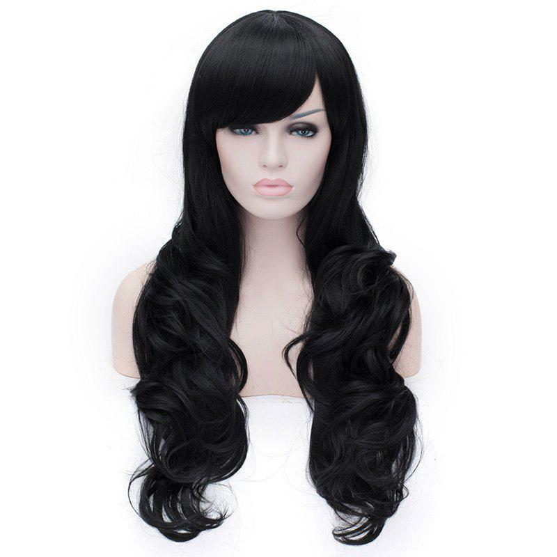 Simple Style Side Bang Black Deep Wave Capless Synthetic Wig For Women