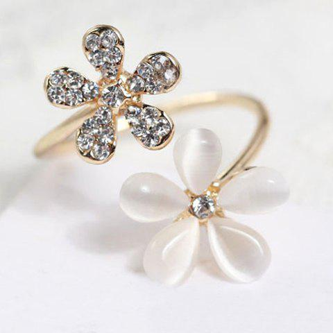 Flower Faux Opal Rhinestone Embellished Ring - ONE-SIZE GOLDEN