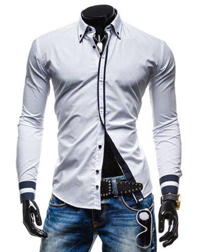 Leisure Turn-down Collar Classic Color Block Button Fly Slimming Long Sleeves Men's Shirt - WHITE L