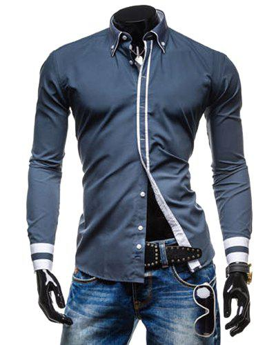 Leisure Turn-down Collar Classic Color Block Button Fly Slimming Long Sleeves Men's Shirt - GRAY 2XL