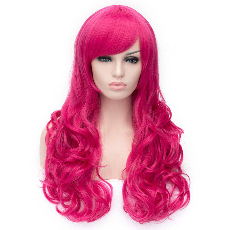 Elegant Rose Long Fluffy Wave Synthetic Side Bang Capless Wig For Women - ROSE