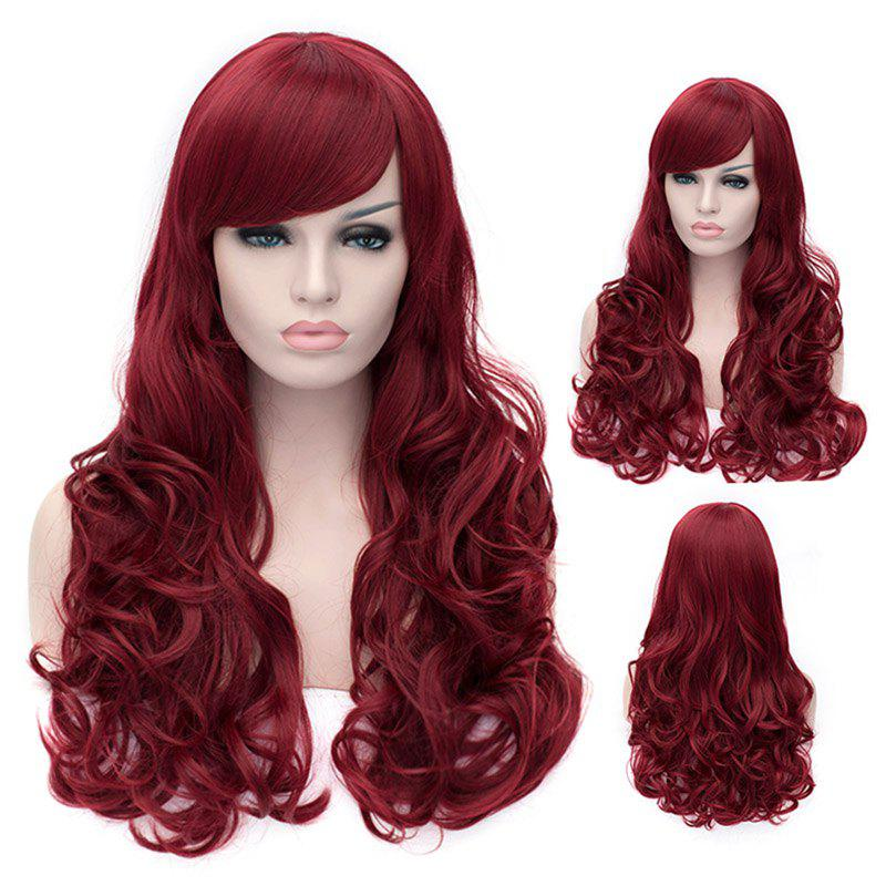 Outstanding Capless Long Deep Wavy Dark Red Fluffy Women's Synthetic Wig With Side Bang