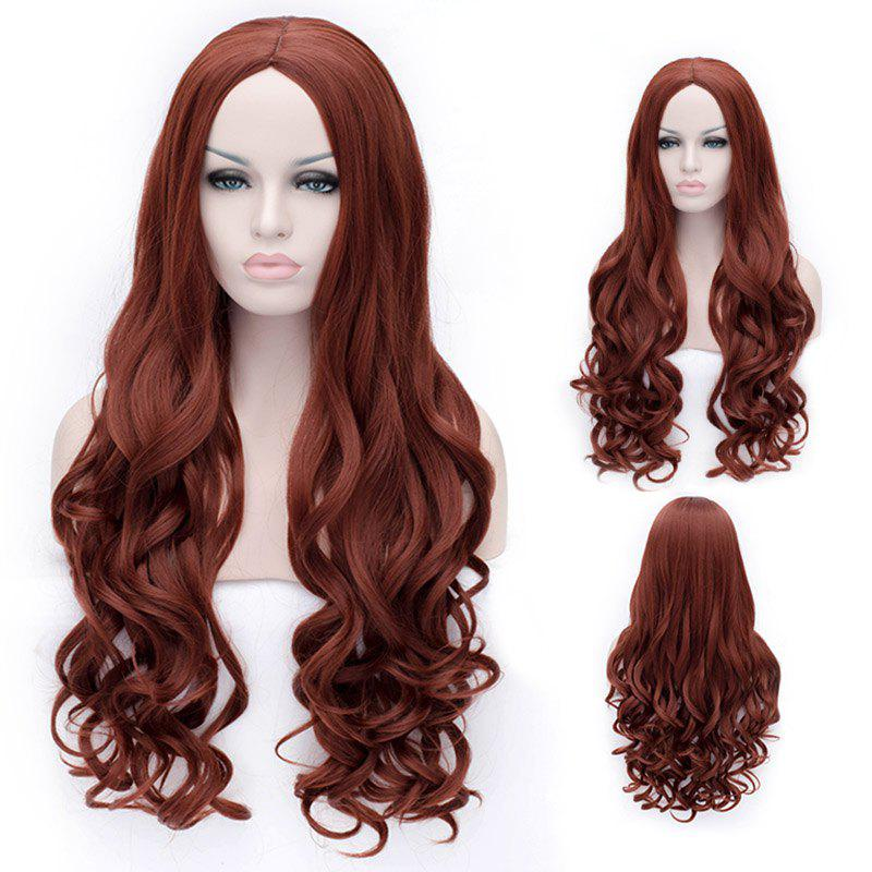 Towheaded Brown Synthetic Long Deep Wavy Fashion Heat Resistant Women's Hair Wig - BROWN