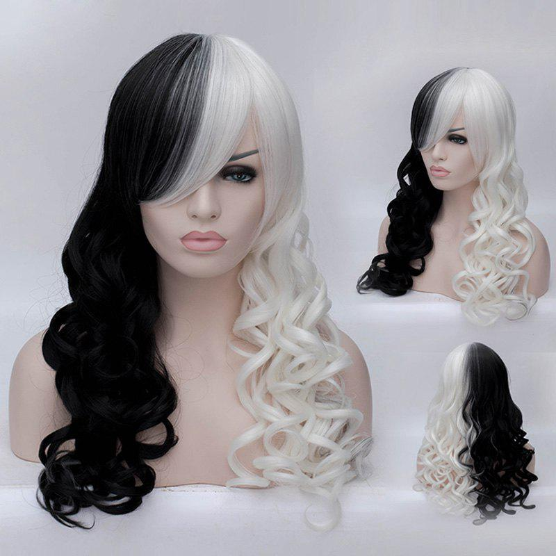 Non-mainstream Assorted Colors Long Deep Wavy Women's Synthetic Wig With Face Side Bang - OMBRE
