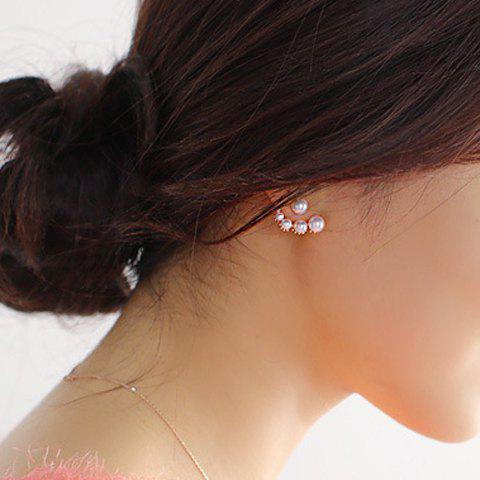 Pair of Sweet Rhinestone Faux Pearl Irregular Earrings For Women - SILVER
