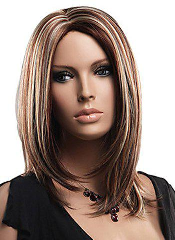 Attractive Layered Mixed Color Medium Straight Fluffy Capless Women's Synthetic Wig