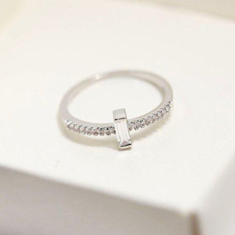 Chic Rhinestone Faux Crystal Geometric Shape Ring For Women - WHITE GOLDEN ONE-SIZE