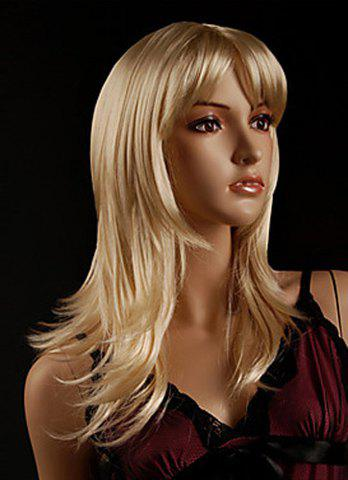 Perruque de charme Golden Blonde Long Wave capless Side Bang synthétiques femmes - Or
