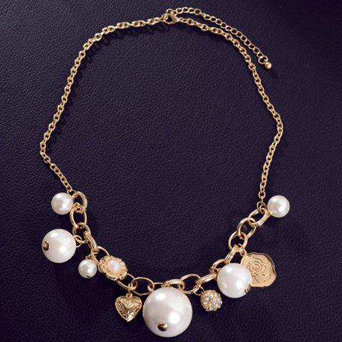 Chic Colored Rhinestone Faux Pearl Heart Ball Necklace For Women