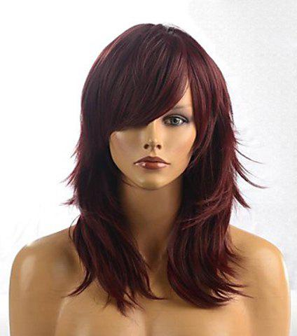 Layered Long Chestnut Brown Straight Tilt Women's Synthetic Wig With Face Side Bang - DARK AUBURN
