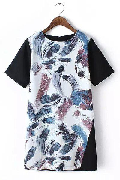 Casual Feather Print Round Collar Short Sleeve Dress For Women - COLORMIX L