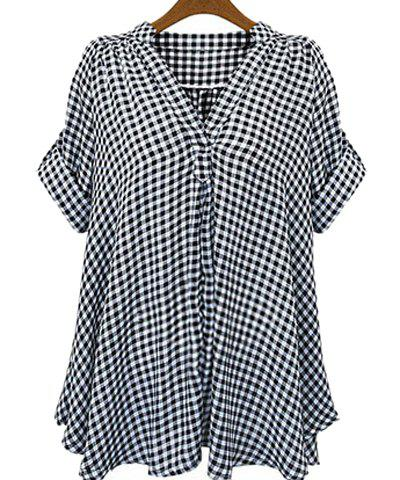 Casual Stand-Up Collar Short Sleeve Loose-Fitting Plaid Women's Blouse - WHITE/BLACK XL
