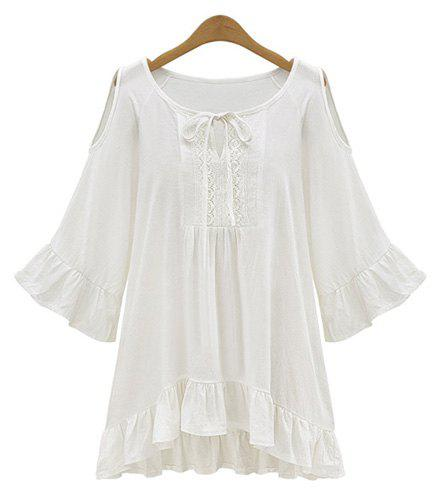 Stylish Scoop Neck 3/4 Sleeve Solid Color Hollow Out Women's Blouse - WHITE XL