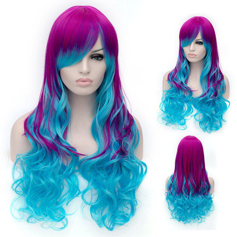 Trendy Ombre Side Bang Long Wavy Charming Heat Resistant Synthetic Women's Cosplay Wig - COLORMIX