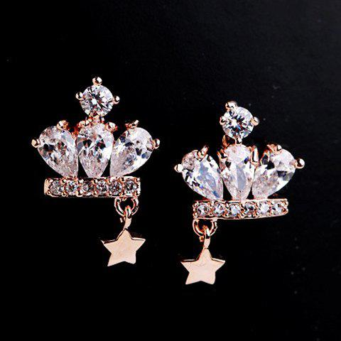 Pair of Rhinestone Crown Five Pointed Star Shape Stud Earrings - ROSE GOLD