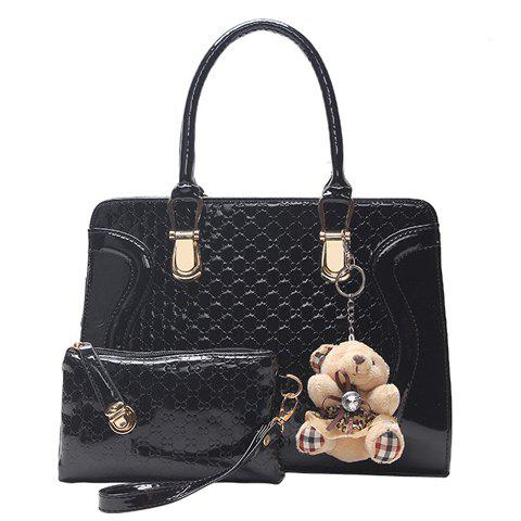 Sweet Bear Pendant and Embossing Design Tote Bag For Women - BLACK
