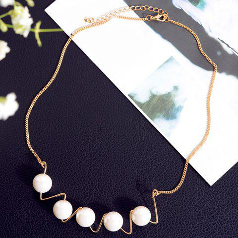 Stylish Faux Pearl Wavy Shape Design Necklace For Women - WHITE