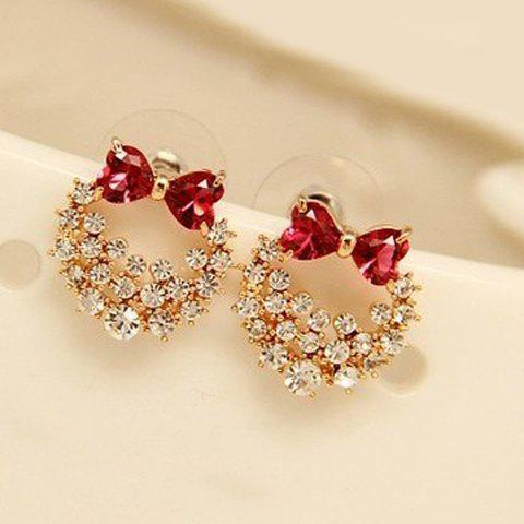 Pair of Rhinestone Rose Bowknot Shape Stud Earrings - ROSE MADDER