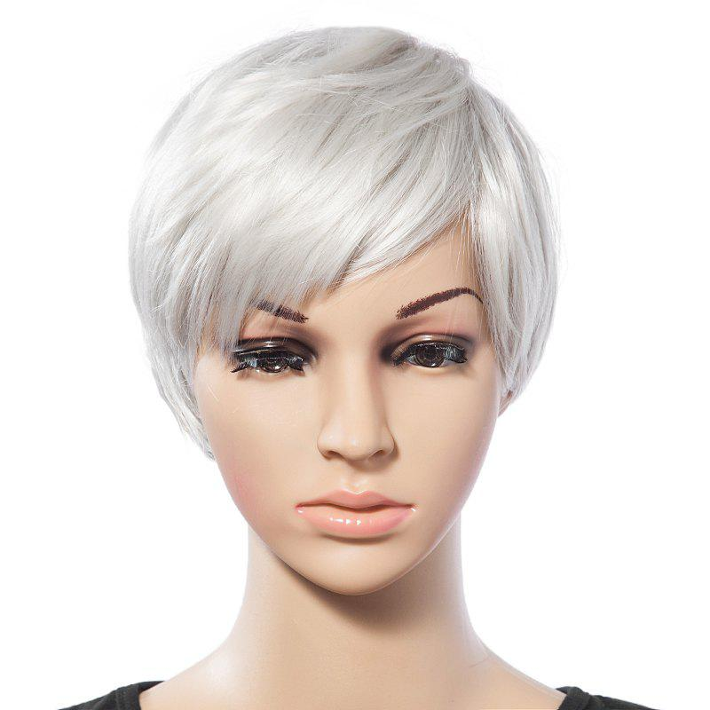 Vintage Short White Trendy Side Bang Natural Glossy Straight Synthetic Wig For Women - WHITE